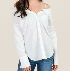 new baby blue off the shoulder top